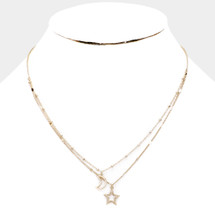 Moon Star Layered Necklace: Gold OR Silver
