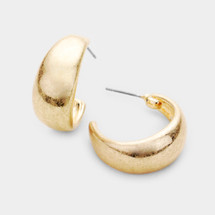 Dome Metal Hoop Earrings: Gold Or Silver