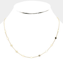 Delicate Clover Station Necklace: Gold Or Silver