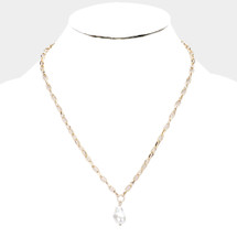 Chain Links Pearl Pendant Necklace: Gold Or Silver
