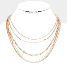 Pearls N' Chains Necklace: Gold Or Silver