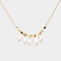 Pearl Multi Drops Necklace: Gold Or Silver