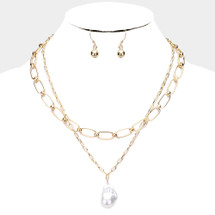 Links With Pearl Drop Layered Necklace: Gold Or Silver