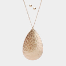 Long Hammered Teardrop Pendant Necklace: Gold Or Silver