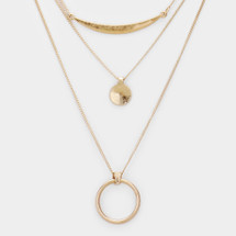 Open Circle 3 Layer Necklace: Gold Or Silver