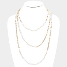 Pearl Statement Chain Link Long Necklace: Gold Or Silver