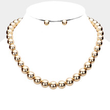 Metal Ball Beaded Necklace: Gold Or Silver