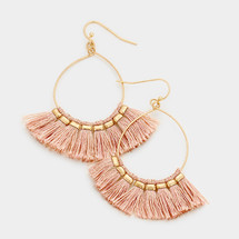 Open Circle Fan Tassel Earrings