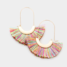 Rainbow Fan Tassel Earrings