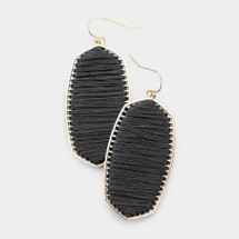 Thread Metal Dangle Earrings: Black