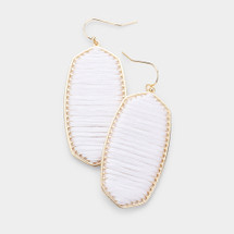 Threaded Metal Dangle Earrings: White