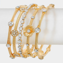 Floral Bangle Stack/Set: Gold Or Silver