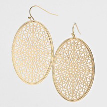 Oval Droplet Metal Round Earrings: Gold Or Silver