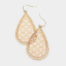 Geo Filigree Teardrop Earrings: Gold OR Silver
