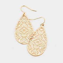 Teardrop Patterned Earrings: Gold Or Silver