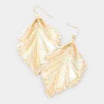 Single Leaf Textured Earrings