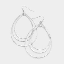 Textured Triple Teardrop Earrings