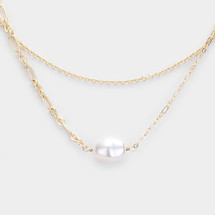 Delicate Layered Pearl Necklace: Gold Or Silver