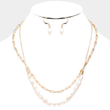 Beaded Freshwater Pearl Layered Necklace: Gold Or Silver