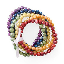 Cultured Freshwater Pearl Rainbow Bracelet Set