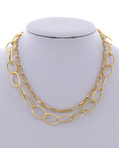 Double Layered Golden Chains Necklace