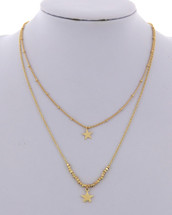 Double Layered Golden Star Necklaces