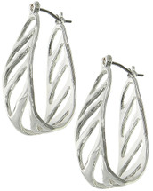 Silver Cut Out Oval Hoops