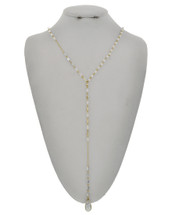 Delicate White Beaded Y Necklace