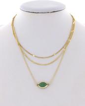 Layered Minty Semi Precious Necklace