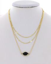Black Semi Precious Layered Necklace