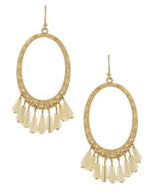 Hammered Gold + Ivory Earrings