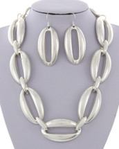 Matte Silver Loop Links Necklace/Earring Set