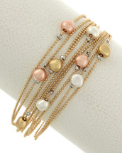 Tri-Tone Beaded Layered Magnetic Clasp Bracelet