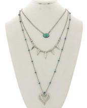 Triple Layer Turquoise Hearts Necklace