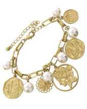 Pearls + Coins Charm Bracelet: Gold Or Silver