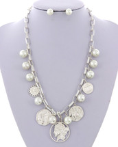 Pearls + Coins Necklace: Gold Or Silver