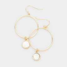 Mother Of Pearl Wire Drop Hoops