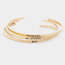Fearless: Be Strong Bracelet Stack: Gold Or Silver
