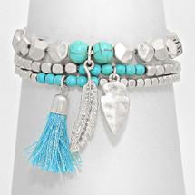 Turquoise + Silver Bracelet Stack/Set