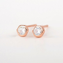 Tiny Rose Gold Stoned Studs *Sterling*