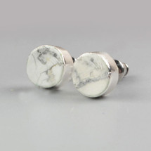 Howlite Sterling Stud Earrings