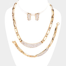 Crystals + Chains Necklace/Bracelet/Earrings Set: Gold OR Silver