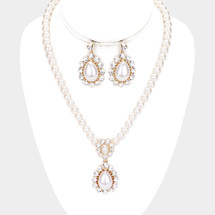 Teardrop Pearls Necklace Set: Gold Or Silver