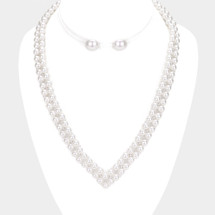 Pearl V Necklace: Gold OR Silver