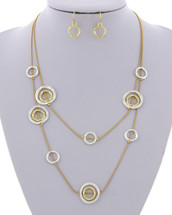 Hammered Rings Long Necklace