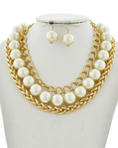 Statement Pearls + Chains Necklace: Gold Or Silver