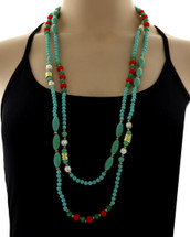 Tribal Turquoise Long Necklace