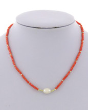 Coral + Pearl Necklace