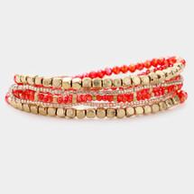 Coral + Gold Bracelet Set