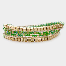 Green + Gold Bracelet Set